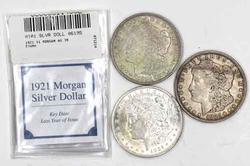 4 Slider 1921 Morgan Silver Dollars