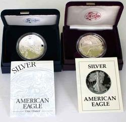 1987 And 2003 Proof Silver Eagles With Boxs and Papers
