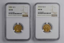 (2) AU58 1908 & 1914-D $2.50 Indian Head Gold Quarter Eagles - NGC