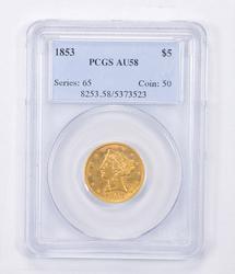 AU58 1853 $5.00 Liberty Head Gold Half Eagle - Graded PCGS