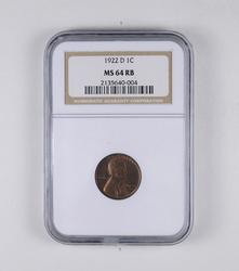 MS64 RB 1922-D Lincoln Wheat Cent - Graded NGC