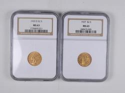 Lot (2) MS63 1925-D & 1927 $2.50 Indian Head Gold Quarter Eagles - NGC