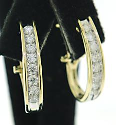 Flashy Diamond Channel Set Earrings