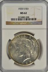 Lustrous well struck BU 1925-S Peace Dollar. NGC MS62