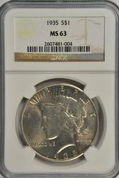 Very Choice BU 1935 Peace Silver Dollar. NGC MS63