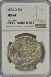 Nearly Gem BU 1884-O Morgan Silver Dollar, NGC MS64