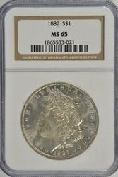 Solid Gem BU 1887 Morgan Silver Dollar. NGC MS65