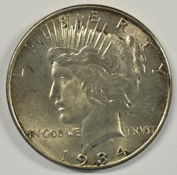 Choice BU 1934-P Peace Silver Dollar. Better date