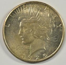 Original BU 1925-S Peace Silver Dollar. Better date