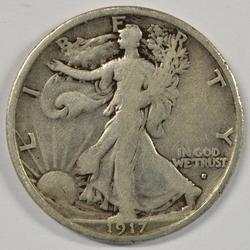 Key date 1917-S (Obv) Walking Liberty Half Dollar
