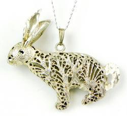 Large Sterling Filigree Rabbit Pendant & Chain