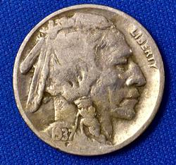 Three Legged Buffalo Nickel !!! 1937-D