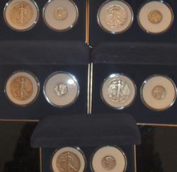 5 National Collectors Mint WW11 Walking Liberty Half & Mercury Dime Sets