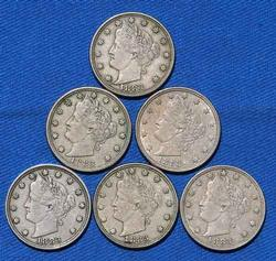 6 1883 No Cent Rackateer Type V Nickels