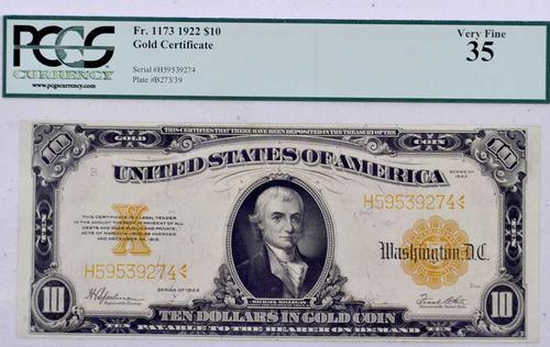 $10 1922 Gold Certificate, Certified VF35