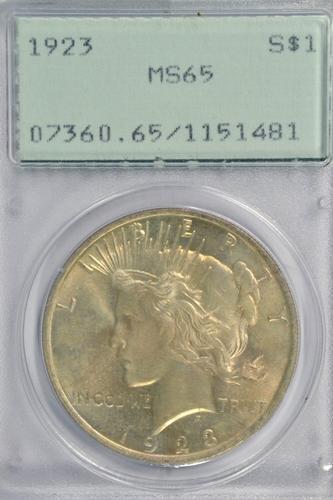 Super Gem BU 1923 Peace Silver Dollar. Old PCGS MS65