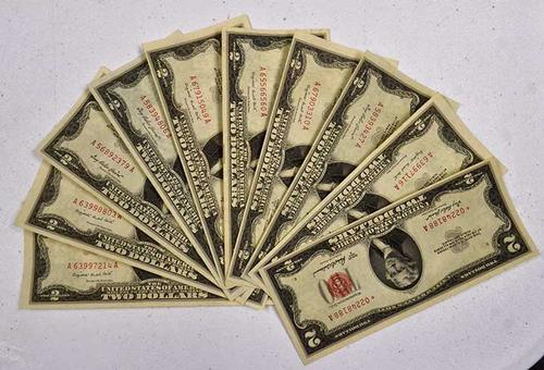 Nice AU Red Seal $2 Bills, x 10, One is Star