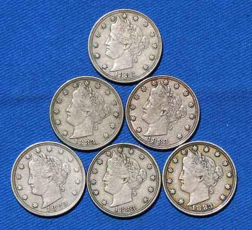 6 1883 No Cent Rackateer Type V Nickels