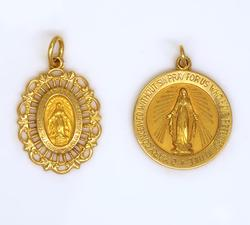 Two Religious Gold Pendants