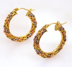 Tri-Color Gold Hoop Earrings