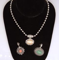 Beaded Silver Necklace w/Three Interchangable Pendants
