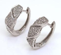 Diamond Cluster Hoop Earrings in Sterling