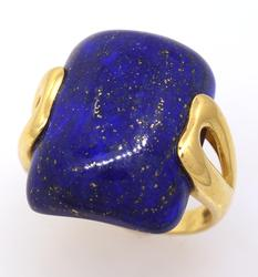 Lapis Statement Ring in Gold, Size 9