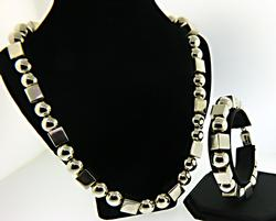 Square and Round Silver Necklace and Bracelet