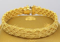 Sparkling Braided Gold Bracelet, 7.75in
