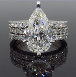 GIA Certified Pear Cut 4.55CTW Engagement Ring