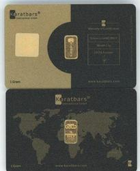Two Sealed 1 Gram .9999 Gold KaratBars in assay cards