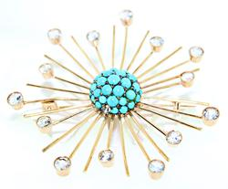 Vintage Turquoise and CZ Burst Pin