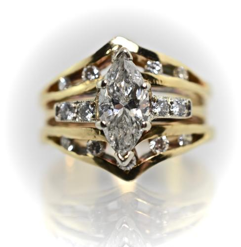 One Carat Marquise Diamond 14K Wedding Set