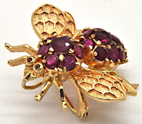 14 KT YELLOW GOLD BEE WITH RUBIES BROOCH/PENDANT