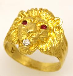 Gold Lion Ring with Rubies & Diamonds, Size 9.5