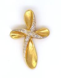 Gold Twist Cross Pendant with Diamonds