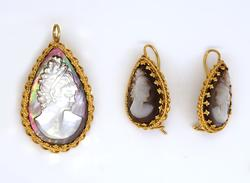 Vintage Abalone Cameo Pendant/Pin & Earrings