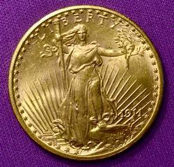 Nice Date BU 1911-S $20 Saint Gaudens Gold Double Eagle