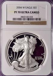 2004 W Perfect Proof Silver Eagle, NGC