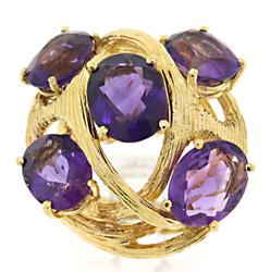 Beautiful Retro 5 Stone Amethyst Ring