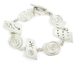 Solid Sterling Silver Free Form Link Bracelet