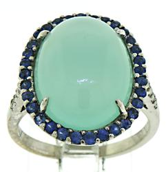 18kt Chalcedony with Sapphire Halo & Diamond Shank Ring