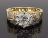 14K Yellow Gold Round Brilliant Cut Engagement Ring
