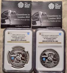2009 Britain 5pnd Silver PF70 1oz and 2oz Piedfort