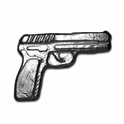2oz Fine Silver Gun Poured Bar Pistol