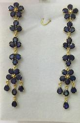 14kt Yellow Gold Blue Sapphire Chandelier Earrings - 12.00 CTW