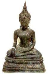 Antique Thai Buddha Bronze Statue - Buddhist Art