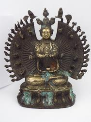 Spectacular Antique 1000 Arm Tibetan Buddha Statue COA