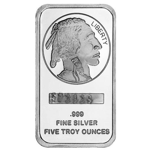 SilverTowne 5oz Silver Bar Buffalo Design
