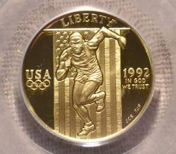 1992-W $5 Gold Commem, Olympic, PCGS PR70
